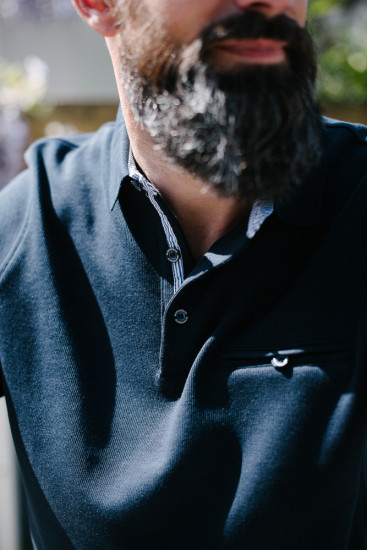 sweat col polo poche poitrine bleu pour homme
