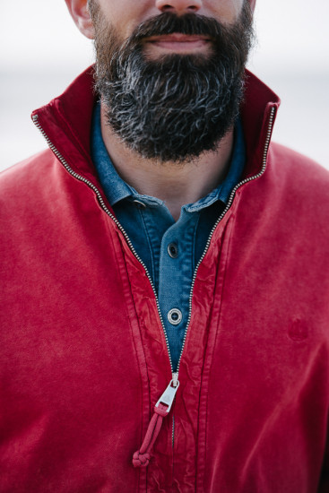 sweat zippé col montant rouge délavé pour homme