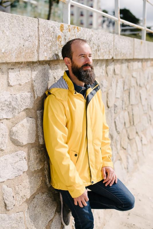 ciré imperméable capuche amovible jaune pour homme