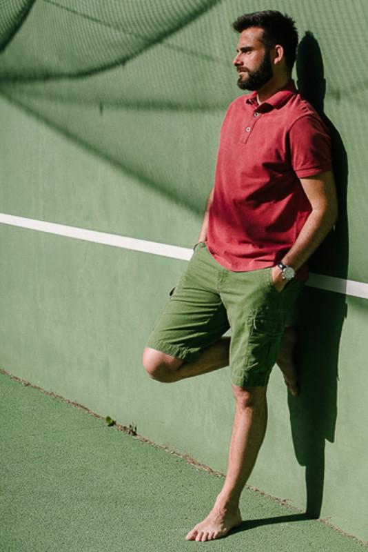 bermuda à poches toile vert délavé pour homme