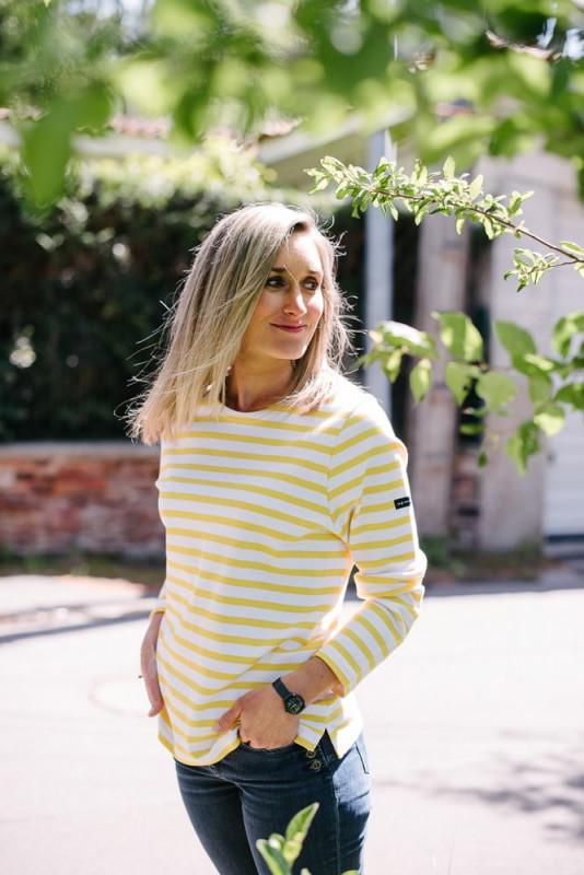 marinière bio col rond blanc jaune pour femme