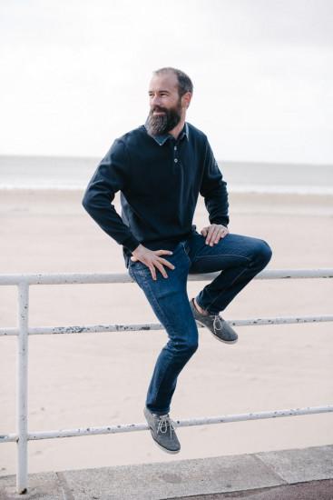 sweat col jean jaune pour homme