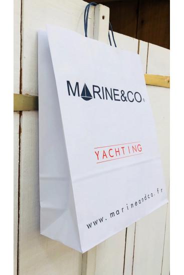 Nos 3 tailles de sacs en kraft blanc marineandco en sigle yachting en rouge