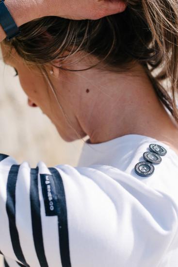 marinière bio boutons épaule blanc rouge pour femme
