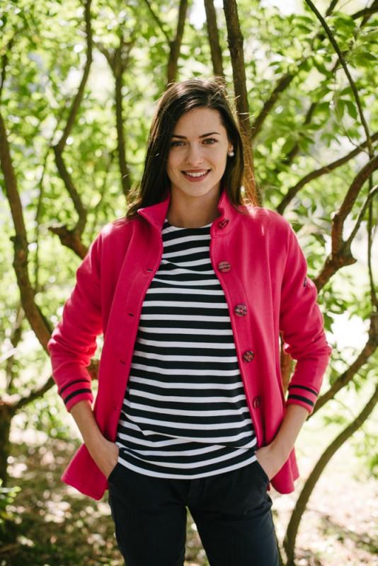 veste en sweat boutons rayés rose pour femme