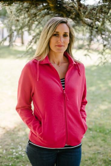 veste sweat zippée rose pour femme