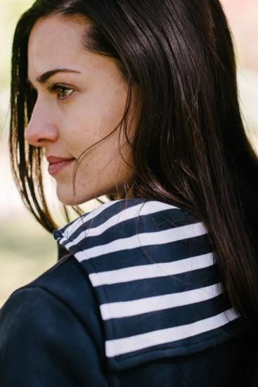gilet zippé col rayé marin bleu marine pour femme
