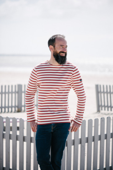 Marinière homme col rond - 100% coton BIO
