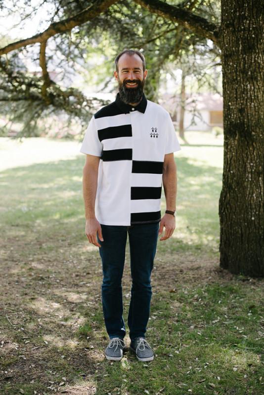 polo bretagne broderie hermine noir et blanc pour homme