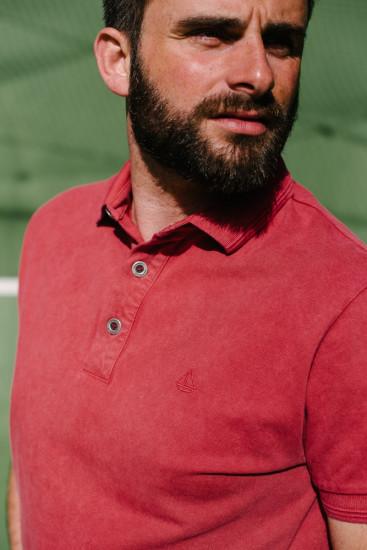 polo coton piqué rouge délavé pour homme