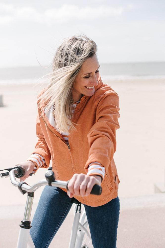 blouson en toile orange délavé pour femme