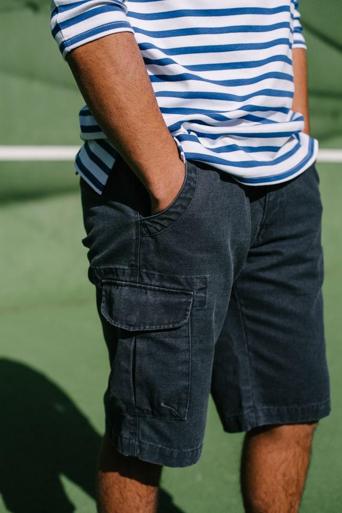 bermuda à poches toile bleu délavé pour homme