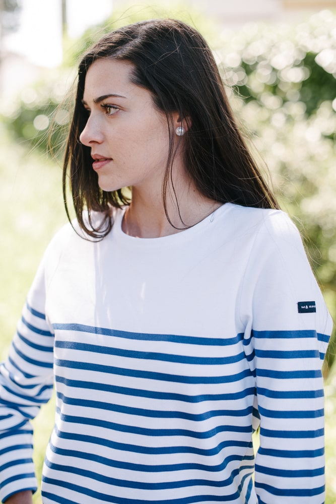 marinière bio col rond blanc bleu royal pour femme