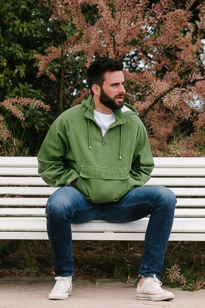 vareuse capuche en toile délavé vert mixte