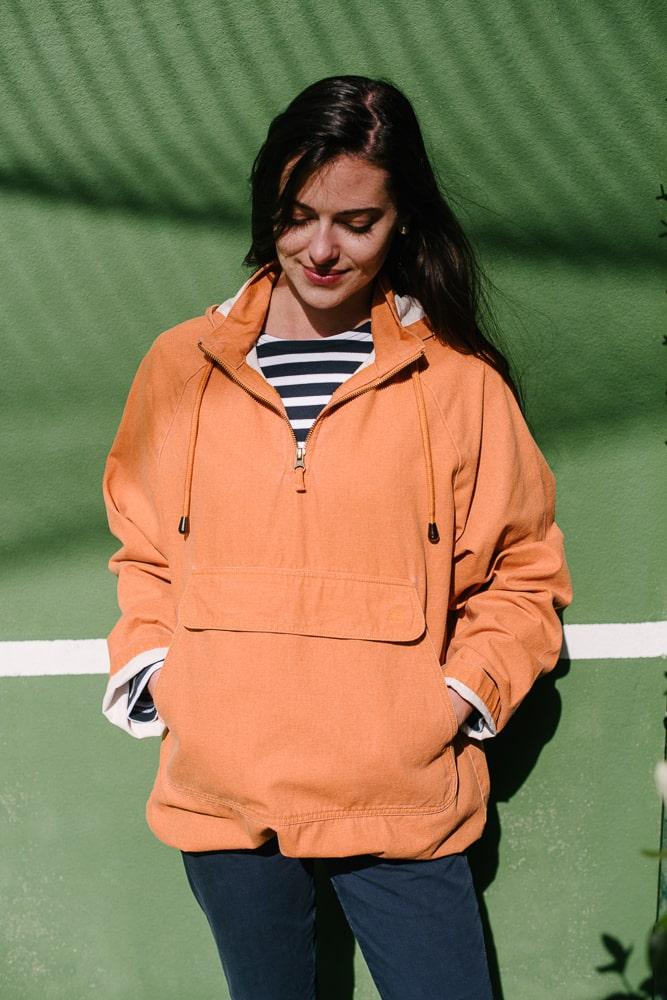 vareuse capuche en toile délavé orange mixte