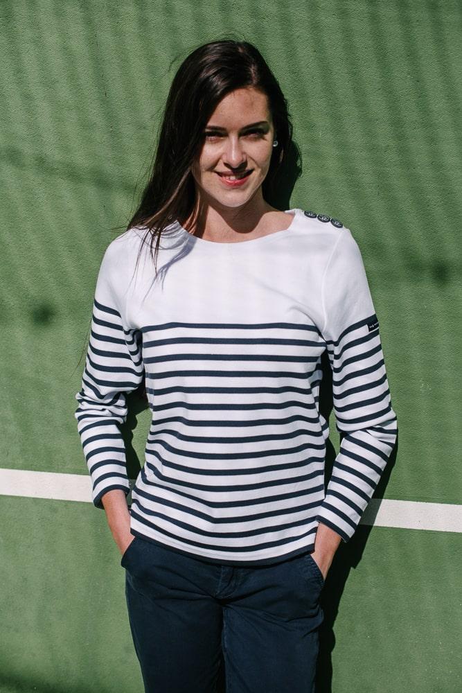 marinière bio boutons épaule blanc bleu marine pour femme