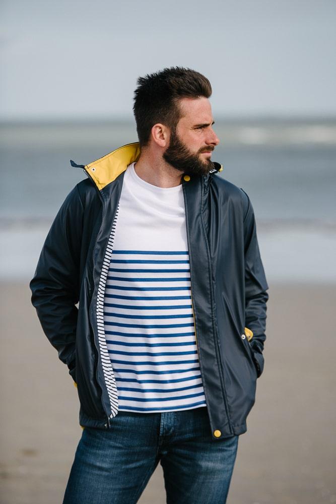 ciré imperméable capuche amovible bleu marine pour homme