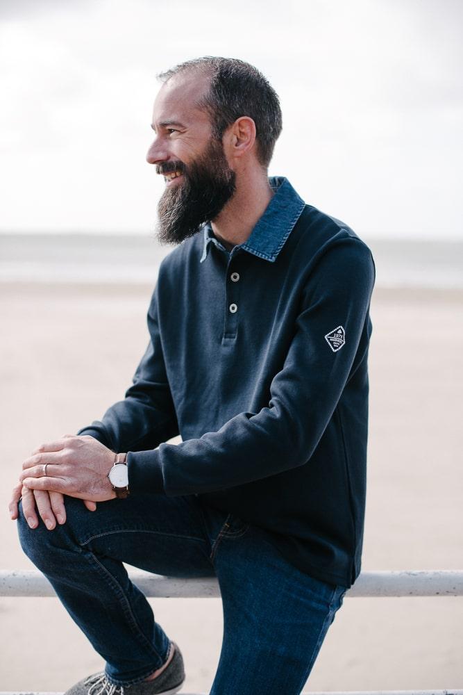 sweat col jean bleu marine pour homme