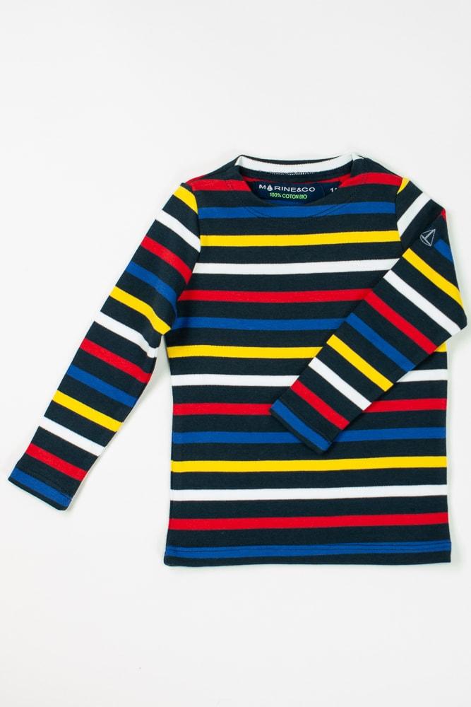 marinière bio col rond multicolore pour enfant