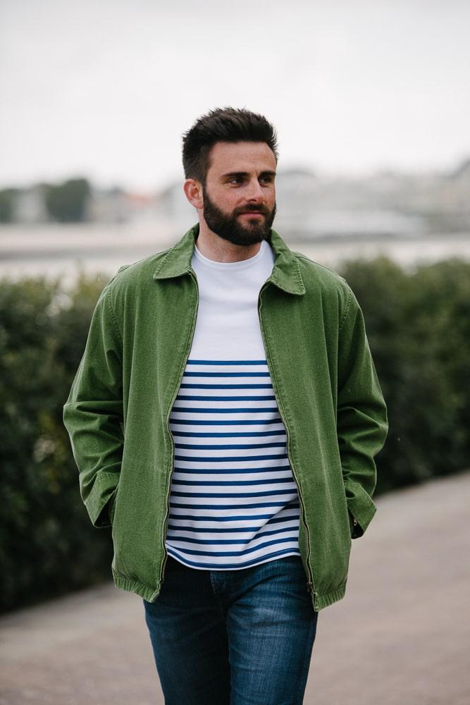 blouson en toile vert délavé pour homme