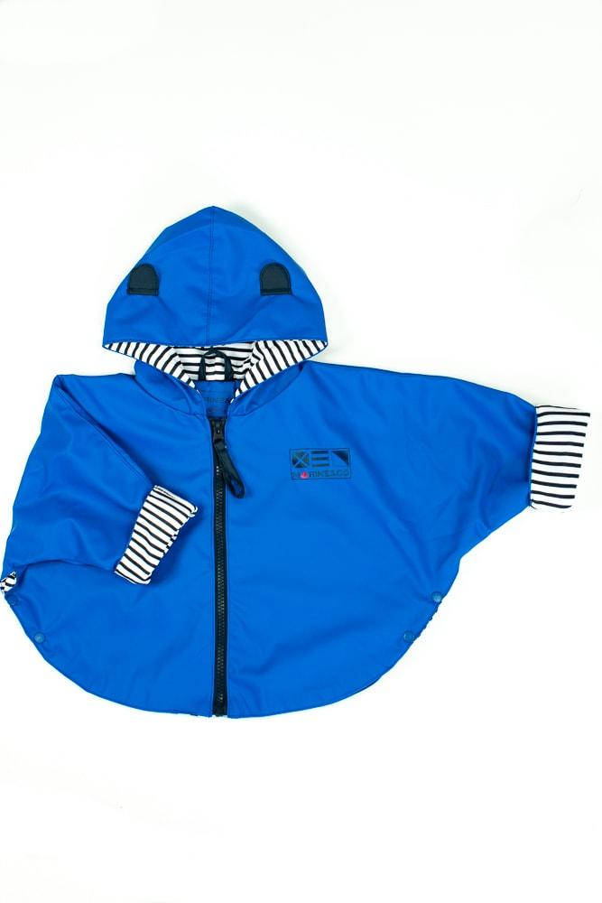 ciré imperméable forme cape bleu royal pour bébé et enfant